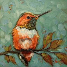 "Hummingbird painting, Original oil painting of a Rufous Hummingbird on a branch, 6x6"" on panel, Hummingbirds, bird art by LaveryART on Etsy https://www.etsy.com/listing/494665313/hummingbird-painting-original-oil"