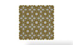 Vicoustic's Sun pattern with gold frame and white fabric.