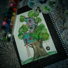 #treehouse #watercolor #sketch