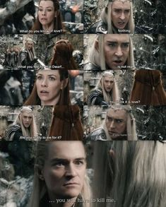The Hobbit: The Battle of the Five Armies - Tauriel, Legolas and Thranduil. The tension in this scene is. Legolas Und Thranduil, Thranduil Funny, Lee Pace Thranduil, Kili And Tauriel, Bilbo Baggins, Thorin Oakenshield, J. R. R. Tolkien, O Hobbit, Celebrity Travel