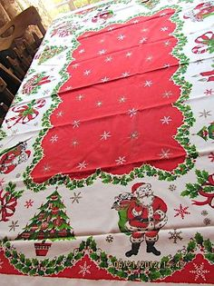 Vintage Christmas Tablecloth Cotton Fabric Santa, Bells Tree, Candy Cane z 1950s Christmas, Old Fashioned Christmas, Christmas Past, Vintage Christmas Cards, Christmas Items, Vintage Holiday, All Things Christmas, Winter Christmas, Christmas Crafts
