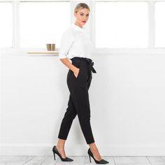 Casual-Womens-OL-Slim-Pencil-Trousers-Pants-High-Waist-Drawstring-Belt-Pants-J