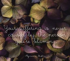 Your suffering is never caused by the person you're blaming.  —Byron Katie