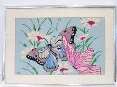 Vtg Needlepoint Pink Blue Butterfly & Daisy Flowers Framed Picture | Crafts, Needlecrafts & Yarn, Embroidery & Cross Stitch | eBay!