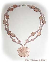 Designs by Debi Handmade Jewelry Beige Taupe Mother of Pearl Shell Multi-Strand Necklace with Shell Hibiscus Flower Pendant and Magnetic Clasp OOAK $52
