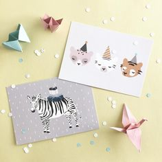 Lulu & helina shop is full of fun cards for various parties and occasions  #postcards#greetingcards#greetingscard#postikortit#onnittelukortti#party#partydecor#zebra#origami#origamicrane#confetti