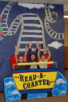 Cute photo booth idea for circus theme birthday party. Use pool noodle for roller coaster bar School Carnival, Carnival Themes, Circus Theme, Carnival Classroom, Read A Thon, Classroom Bulletin Boards, Classroom Ideas, Vacation Bible School, Library Displays