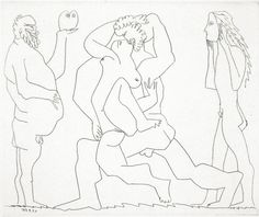 Picasso, Bacchanale au Hibou et au Jeune Homme masqué (Bloch 777)  From the Caisse à remords. Etching printed on tinted Arches wove with Arches watermark. One of nineteen artist's proofs from the edition of 69.