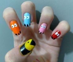 Pac Man Nails Picture from ☆Nails☆. I feel like playing pacman now. Cute Nail Art Designs, Nail Polish Designs, Nails Design, Love Nails, How To Do Nails, Fun Nails, Pretty Nails, Pac Man Nails, Top Fashion