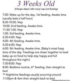 Birth to 6 Months Baby Schedule - Hashtag Motherhood. 3 weeks old schedule: