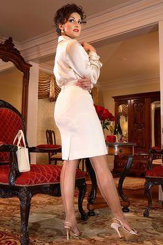 visible garter bumps under tight gray skirt  the elusive