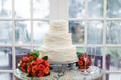 Wedding cake with flowers for NC mountain wedding