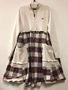 shop: Upcycled Plaid Sweater Dress, Refashioned Flannel Shirt Tunic , Oversized Cotton Sweater , patchwork Winter Frock Excited to share this item from my Clothes Refashion, Shirt Refashion, Refashioned Clothes, Upcycled Clothing, Sewing Clothes, Diy Clothes, Clothes For Women, Dress Sewing, Snow Clothes