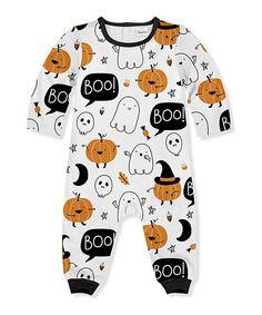 1e704f81c PeppyMini Black & White 'Boo' Snowman Pumpkin Playsuit - Infant & Toddler