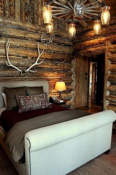 Mountain cabin bedroom - a lot of rustic and a little contemporary with the bed style