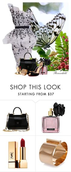 """""""Black & White Butterfly Mimicry"""" by flowerchild805 ❤ liked on Polyvore featuring RALPH & RUSSO, Dolce&Gabbana, Victoria's Secret, Yves Saint Laurent, Dsquared2 and Christian Louboutin"""
