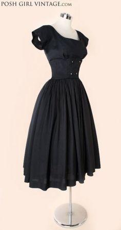 1950's Black Silk Audrey Hepburn Style Tea Length Dress