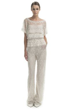 Vintage White Embroidered Jumpsuit by Valentino for Preorder on Moda Operandi
