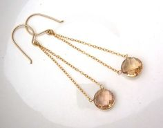 Elegant Long Champagne Citrine Coin Chandelier Earrings