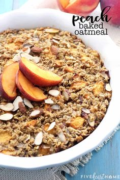 Peach Baked Oatmeal Recipe ~ this wholesome and delicious oatmeal is bursting with healthy, real food ingredients for a make-ahead breakfast that will fuel you through the morning! | FiveHeartHome.com