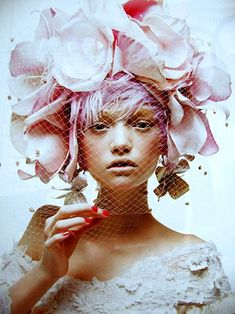 Headpiece and pink pixie hair.