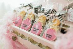 These black and pink party favors are perfect for a Barbie or Spa theme girls birthday