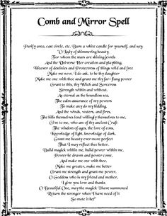 Comb and Mirror Spell #wicca #witchcraft