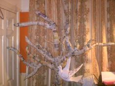 Paper mache tree chicken wire