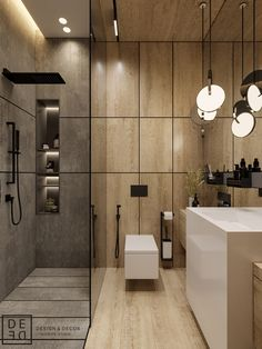 DIY and ideas for modern master bathroom, master bathroom, master bathroom decor. DIY and ideas fo Washroom Design, Bathroom Design Luxury, Modern Bathroom Design, Modern Interior Design, Diy Bathroom, Modern Master Bathroom, Bathroom Layout, Small Bathroom, Wooden Bathroom