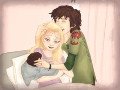 Hiccup and Elsa with their newborn son.