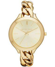 Michael Kors Watch, Women's Slim Runway Gold-Tone Stainless Steel Bracelet 42mm MK3222