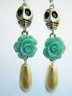 Day of the Dead Earrings, Pearl Drop Skull Earrings with Baby Blue Flowers, Dia de Los Muertos Skull Jewelry, Silver Skulls via Etsy