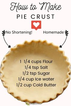 All Butter Pie Crust, Easy Pie Crust, Homemade Pie Crusts, Pie Crust Recipes, Single Pie Crust Recipe With Butter, Recipe For Pie Dough, No Chill Pie Crust Recipe, Buttery Pie Crust Recipe, Tart Crust Recipe