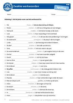 Vul de zwakke werkwoorden in Spelling For Kids, Learn Dutch, Dutch Language, School Worksheets, Einstein, Classroom, Teaching, Writing, Education