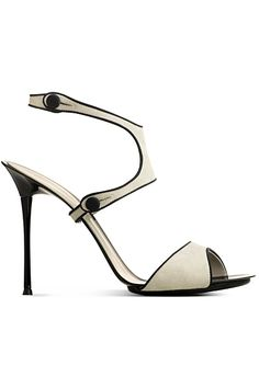 Gianvito Rossi White Sandal with Black Details Fall Winter 2013 #Shoes #Heels