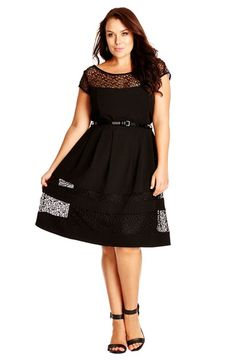 City Chic Fit & Flare Dress with Delicate Lace Insets (Plus Size) available at #Nordstrom