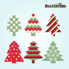 FREE Patterned Christmas Trees Clip Art Set