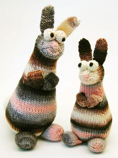 FREE PATTERN (as always!)  These rabbits are easy to make. The body and head are knit in one piece, with short rows for head shaping. The ears, eyes, paws, and legs can be knit on stitches picked up from the body, or knit separately and sewn on.