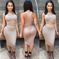 Scoop Sleeves Bodycon Irregular Two Pieces Dress Suit