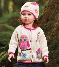 a-DOR-able little girls owl cardigan.