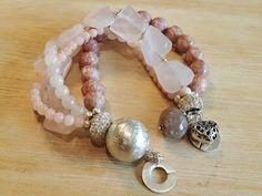 GLITTERY - 4-er Perlenarmband - hellrosa-Sterling Silber Beaded Bracelets, Jewelry, Fashion, Light Rose, Glass Beads, Rhinestones, Wristlets, Silver, Moda