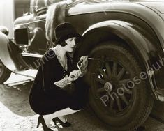 Wealthy Girl Tightening Car Wheel Vintage 8x10 Reprint Of Old Photo