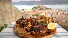 Honningmarinert grillet kylling med rosmarinpoteter – NRK Mat – Oppskrifter og inspirasjon Poultry, Grilling, Chicken, Meat, Dinner, Food, Dining, Backyard Chickens, Crickets