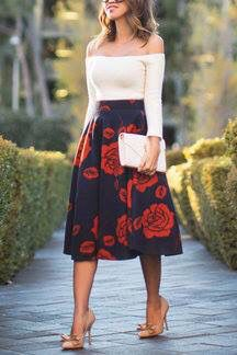 Floral skirt, off the shoulder top