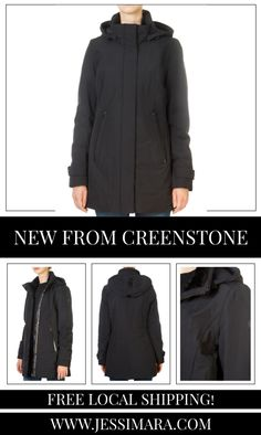 This is the 'Teresa' Long Black Coat by stunning brand Creenstone. This gorgeous piece features a large hood, a central double zipper fastening, and side zip pockets. This is the perfect piece to carry you into the colder season! Black Raincoat, Waterproof Coat, Long Black, Shop Now, Pockets, Zipper, Clothing, Shopping, Fashion