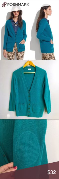 Madewell Bookshop Cardigan Madewell Wallace wool cardigan in teal. Two front pockets, elbow pads. Madewell Sweaters Cardigans