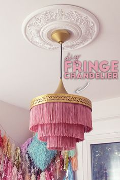 Best 12 Check out this stunning Fringe Chandelier! Can you believe it's a DIY! Join Dani and Alexandra as they compete in the friendly competition series, Buy or DIY! In this episode, Dani and Alexandra need to make Alyssa Garrison a new chandelier. Diy Home Crafts, Diy Home Decor, Room Decor, Style Boudoir, Ramadan Decoration, Diy Chandelier, Chandeliers, Home And Deco, Lampshades