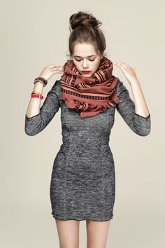 Warm and grey tones, patterned scarf and dress