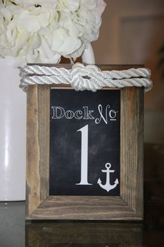 Nautical Themed Wood Framed Table Number by TrendyLittleDetails, $5.50