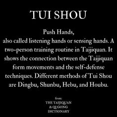 wondering what is Pushing Hands or Tui Shou in Tai Chi (Taijiquan), I found some quotes online and in books. Discover the various definitions and aspects! Martial Arts Techniques, Self Defense Techniques, Meridian Acupuncture, Tai Chi Moves, Learn Tai Chi, Tai Chi Exercise, Tai Chi For Beginners, Tai Chi Qigong, Self Defense Martial Arts